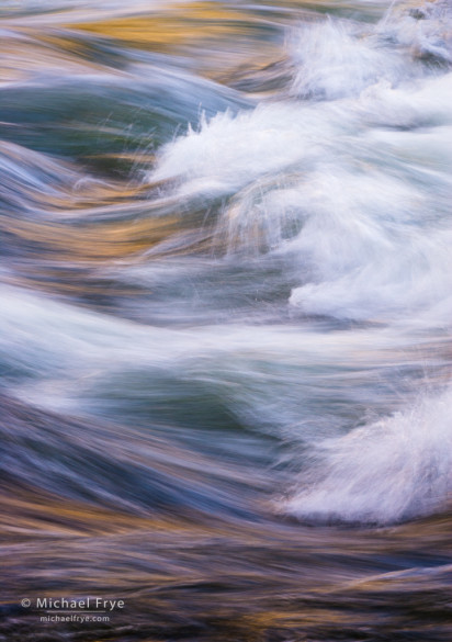 Waves in the Merced River near Happy Isles, Yosemite NP, CA, USA